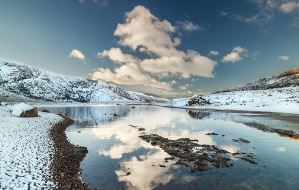 Picture the sky, water, clouds, snow, mountains, river