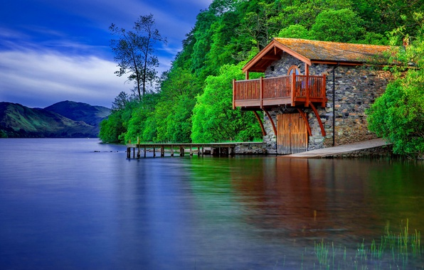 Picture house, nature, water, lake, place