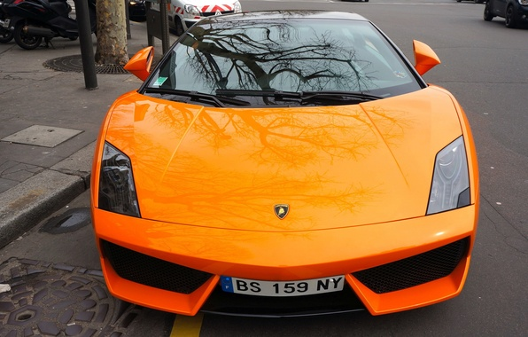 Picture the city, reflection, Lamborghini, Orange, Gallardo, supercar, the front
