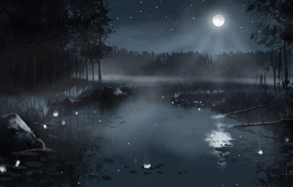 Picture forest, the sky, stars, trees, landscape, night, nature, fog, lake, the reeds, the moon, figure, …