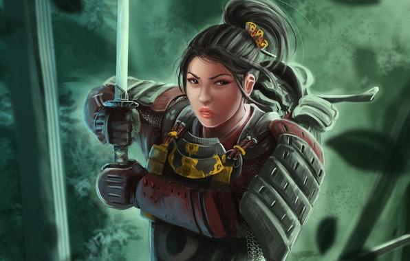 Picture girl, katana, art, samurai, armor, samurai