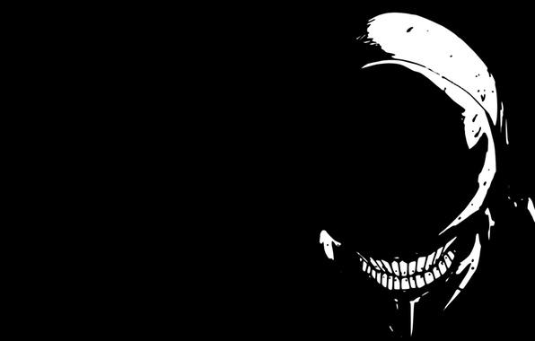 Picture black and white, stranger, grin