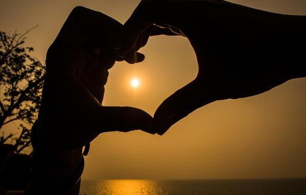 Picture love, sunset, heart, love, heart, sunset, romantic, hands