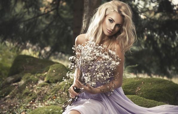 Picture grass, girl, nature, stones, moss, bouquet, dress, blonde, Monika Jaros