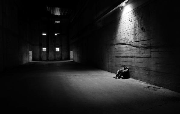 Picture light, man, loneliness, melancholy, hangar