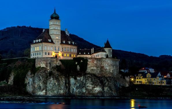 Picture mountains, night, lights, rock, river, castle, shore, home, Austria, lights, fortress, Schönbühel Castle, Sensual
