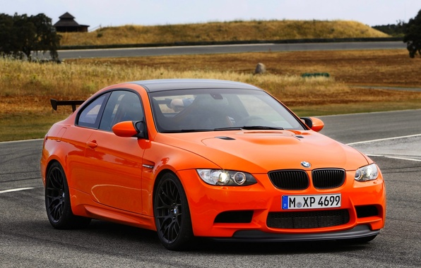 Picture Auto, BMW, Logo, BMW, Orange, The hood, Lights, GTS, The front