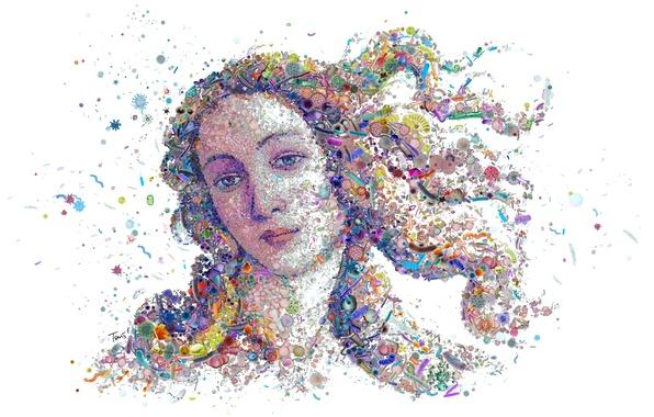 Photo wallpaper bacteria, The Birth Of Venus, face, viruses, Botticelli's Venus