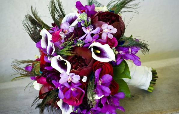 Picture flower, flowers, roses, bouquet, rhinestones, orchids, Orchid, peony, Calla lilies