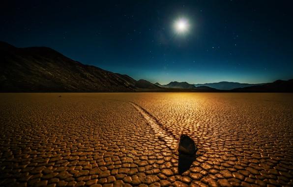 Picture landscape, night, desert, stone