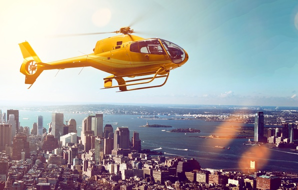 Picture the sky, flight, landscape, yellow, the city, river, home, skyscrapers, helicopter