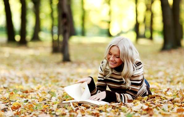 Picture autumn, leaves, girl, trees, smile, blonde, book, reads