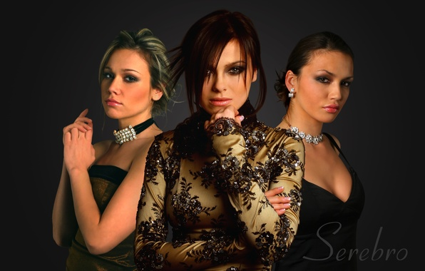 Picture girls, group, Silver, black background, hairstyles, music, dresses, Serebro, elegant, singer