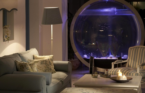 Picture sofa, lamp, aquarium, chair, candles, table, living room