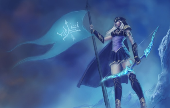 Picture weapons, the game, flag, bow, art, symbol, art, Ashe, league of Legends