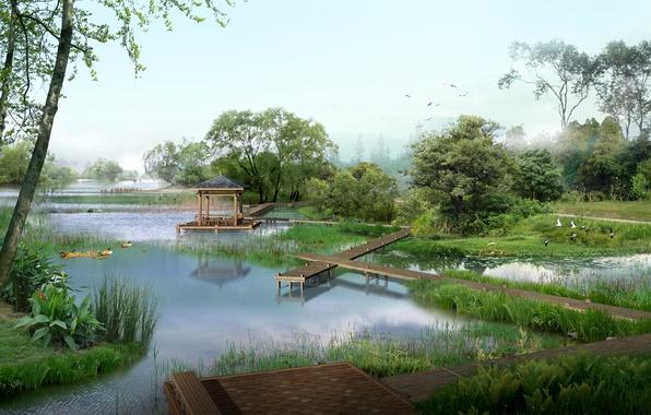 Picture fog, pond, morning, bridges, gazebo