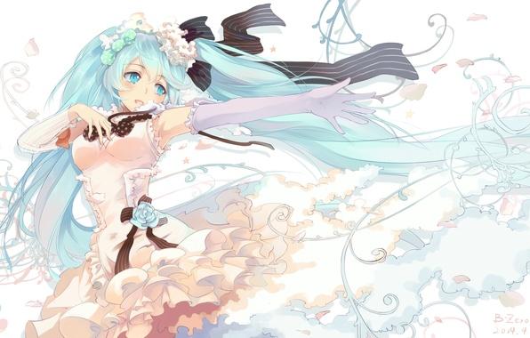 Picture flower, girl, tape, rose, art, vocaloid, hatsune miku, bzerox