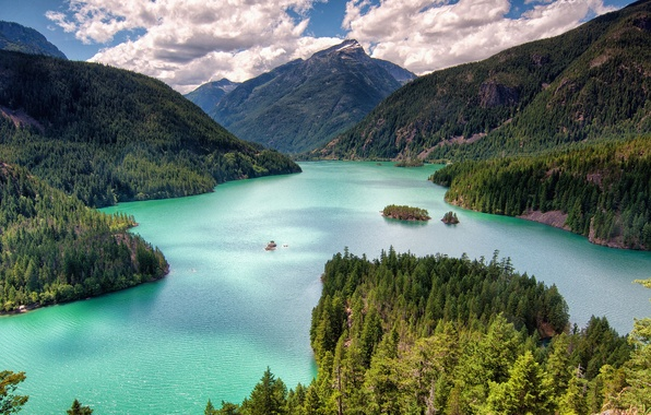Picture forest, mountains, lake, Washington, Washington, Lake Of The Devil, Diablo Lake, North Cascade mountains, North …