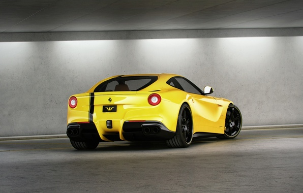 Picture reflection, yellow, shadow, mirror, ferrari, Ferrari, yellow, back, F12 berlinetta, F12 Berlinetta