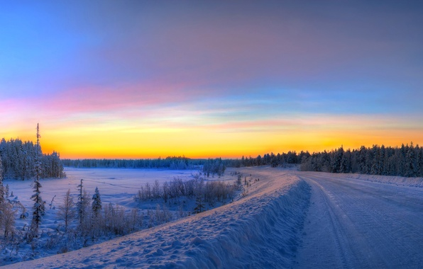 Picture winter, road, the sky, snow, trees, sunset, spruce, hdr