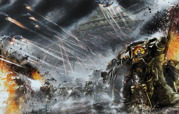 Picture Horus Heresy, Warhammer 40000, The Primarch, Vengeful Spirit, Chorus, Battle Barge, Space Marines, The Sons …