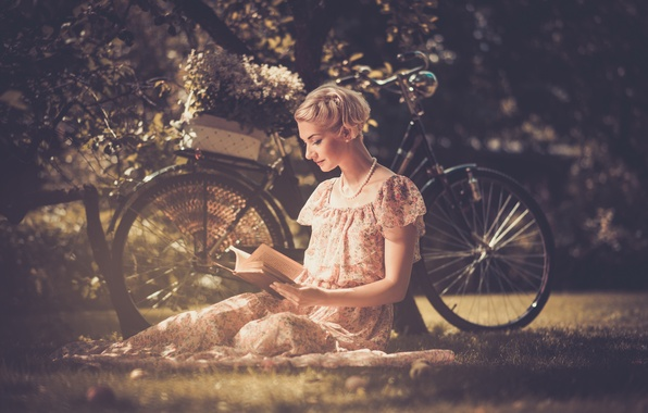 Picture grass, leaves, girl, flowers, nature, bike, style, retro, tree, basket, dress, blonde, beads, book, reads