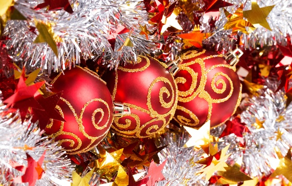 Picture balls, red, New year, tinsel, New Year