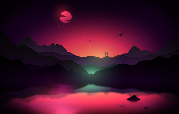 Picture the sky, stars, mountains, birds, fog, the moon, pair, glow, silhouettes, Romantic Couple