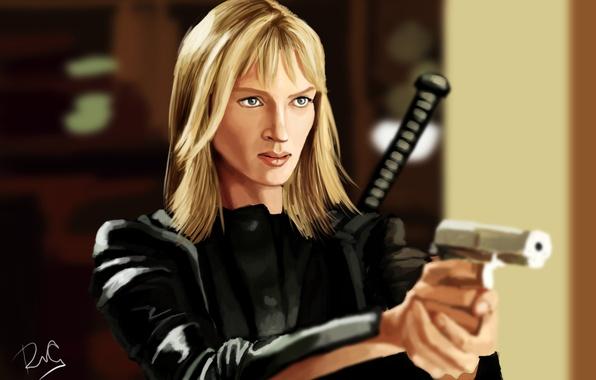 Picture gun, weapons, figure, katana, art, blonde, costume, Kill Bill, in black, Uma Thurman, Kill Bill, …