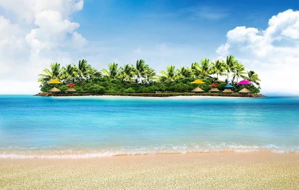 Picture sea, beach, nature, tropics, palm trees, island, umbrellas
