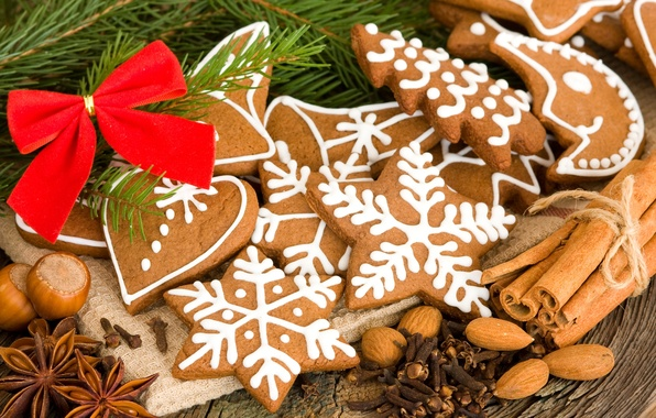 Picture stars, snowflakes, table, heart, spruce, branch, a month, cookies, nuts, cinnamon, bow, figures, dessert, carnation, …