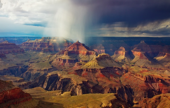 Picture the sky, clouds, clouds, rain, rocks, USA, National Park Grand Canyon
