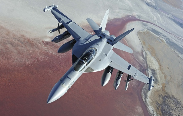 Picture landscape, height, the plane, Boeing, pilots, deck, EA-18G Growler, US NAVY, electronic warfare