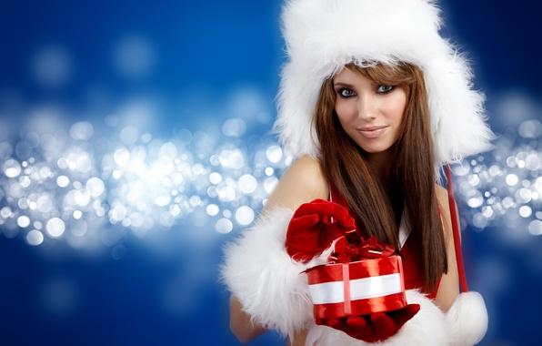 Picture girl, smile, gift, hat, brown hair, bokeh