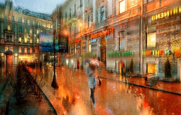 Picture drops, rain, Saint Petersburg