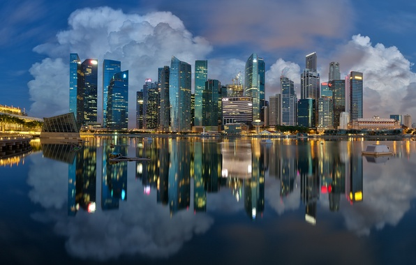 Picture lights, reflection, the evening, pool, Singapore, Marina Bay