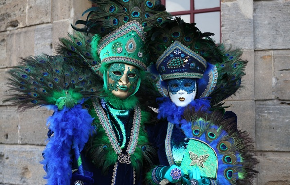 Picture feathers, mask, fan, costume, Venice, peacock, carnival