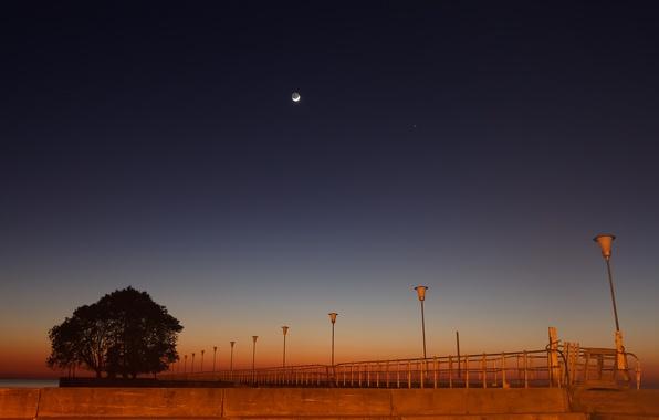 Picture The moon, lights, pierce, Mercury, twilight, promenade, Argentina, Buenos Aires