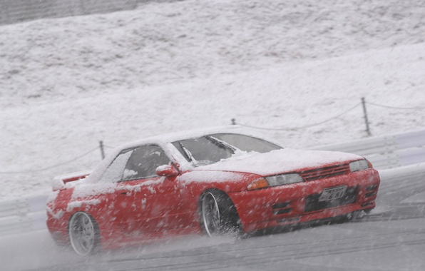Picture snow, nissan, drift, R32, skyline