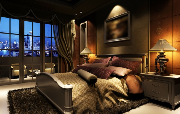 Picture light, the city, room, bed, interior, picture, window