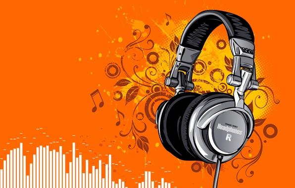 Picture vector, headphones, sounds, disco