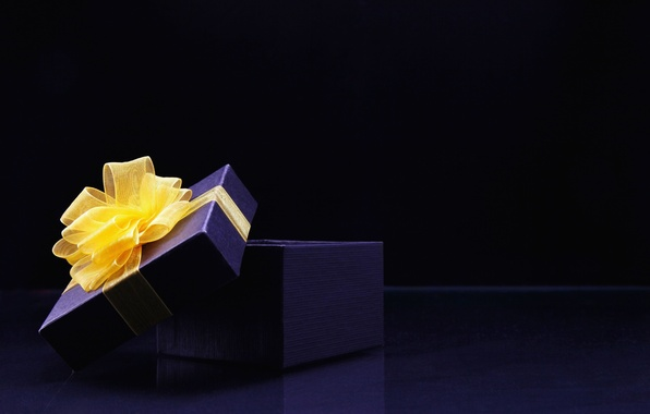Picture blue, yellow, background, box, gift, widescreen, Wallpaper, tape, wallpaper, bow, different, widescreen, background, ribbon, full …