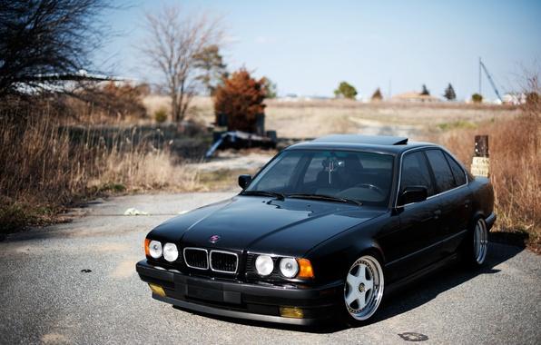 Picture BMW, black, black, tuning, E34, 525