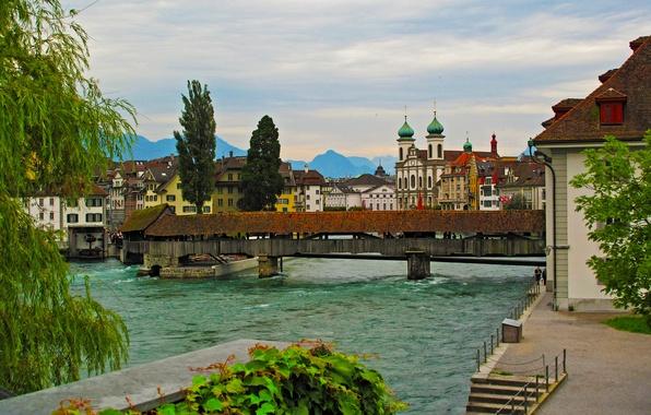Picture bridge, river, for, home, Switzerland, promenade, Luzern