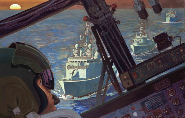 Picture the plane, war, art, cabin, Navy, painting, cockpit, Persian, pilot, first, Bay., Richard Rudnicki, First …