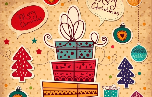 Picture Christmas, Happy New Year, Vector, Merry Christmas, Gifts