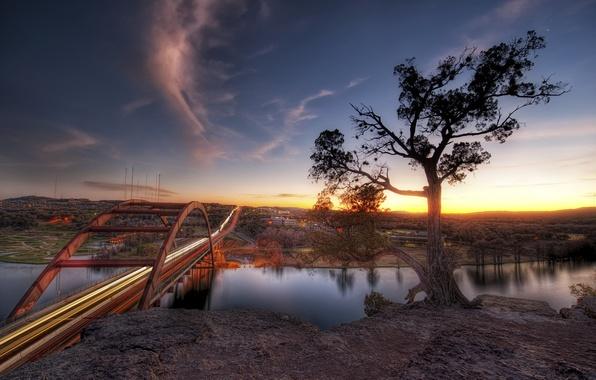 Picture sunset, bridge, river, Sunset, Austin
