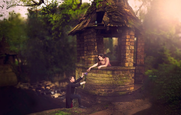 Picture children, Rapunzel, tales, in explanation