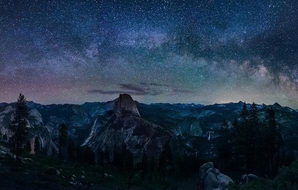 Picture Сalifornia, Nature, Sky, Landscape, Yosemite, Night, Glacier, Way, Milky, Point, Galaxy