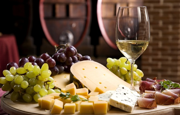 Picture wine, white, glass, cheese, grapes, wine, cheese